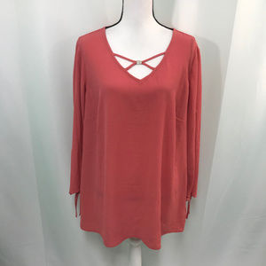 JM Collection Dusty Coral Cutout Sleeve Blouse NWT